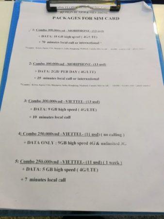 ハノイ・ノイバイ国際空港SIM価格表