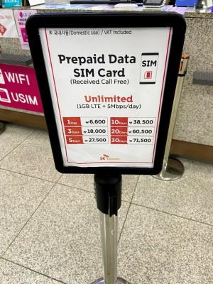 金海国際空港でのSIM価格表