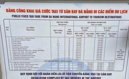 ダナン空港タクシー料金表